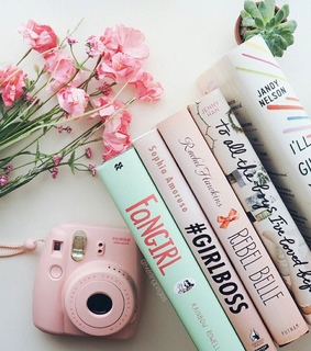 camera, pink and rainbow rowell
