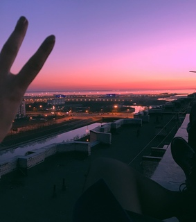 sunset, roof and pink