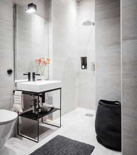 studio apartment, home decor and bathroom