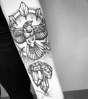 Tattoos, bird and blackwork