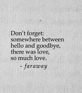 goodbye, can't forget and love