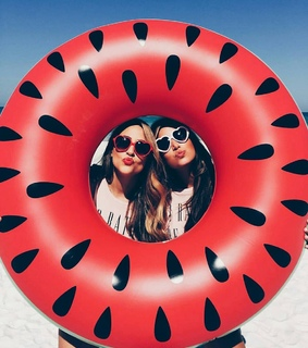 red, bestie and sunglasses