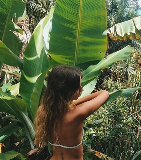 girl, leaf and plants