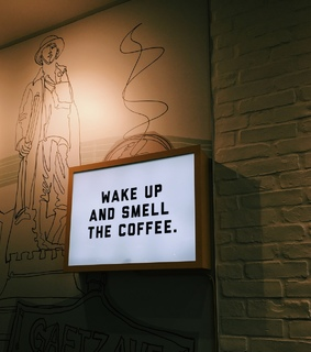 wake up, cafe and quote