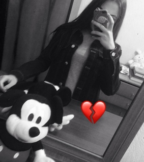 mickey, heart and black white