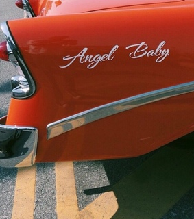 red, car and angel baby
