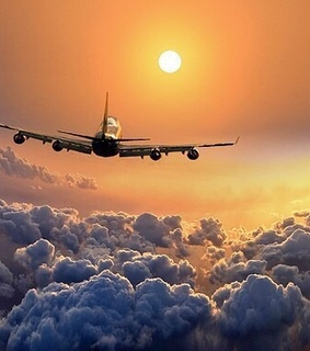 Dream, airplane and clouds