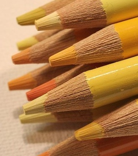 pastel, crayons and yellow