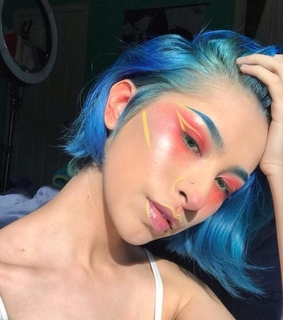 blue, brows and colorful hair