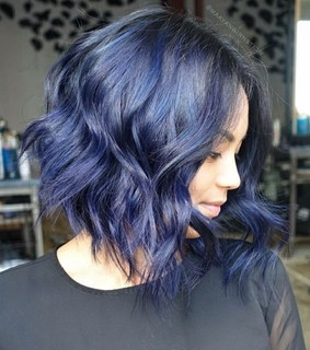 balayage, beauty and blue hair