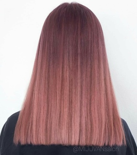 pink, brown hair and rosegold