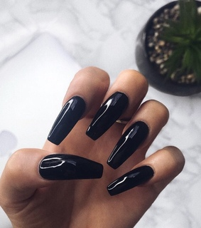beauty, black nails and girly inspo