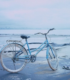 bicycle, colors and ocean