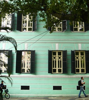 building, facade and mint green