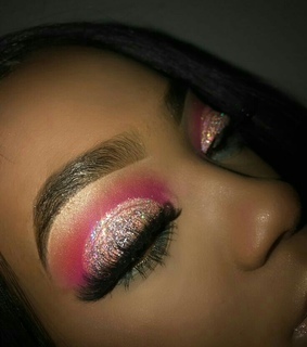 glitter, pink and face beat
