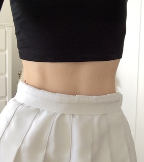 girl girly lady, black and crop top