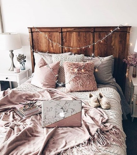 pillows, fairy lights and bedroom
