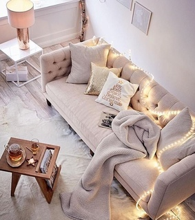 home, living room and fairy lights