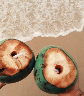 beach, coconut and drinks