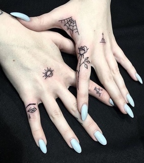 Tattoos, acrylic nails and aesthetic