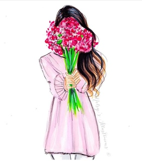 watercolor, flowers and fashion illustration
