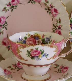 vintage, teacup and flowers