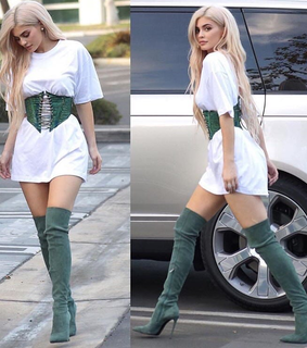 belt, blonde wig and boots