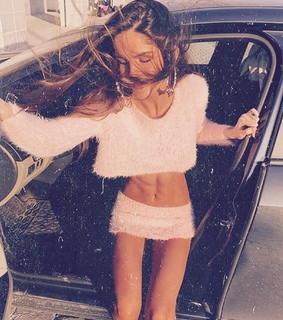 brunette, car and fashion