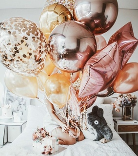 balloons, birthday and gift
