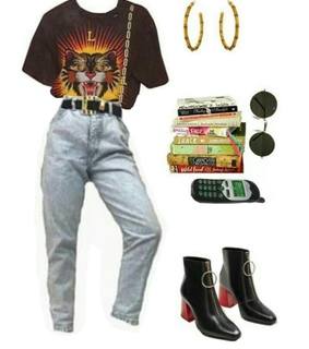 Polyvore, belt and books