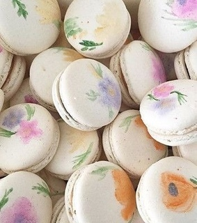 floral, food and macarons