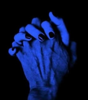 blue, hand and love