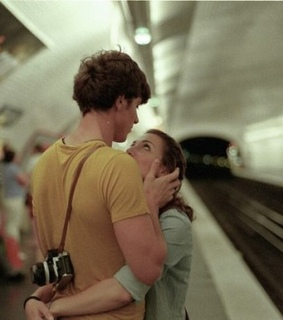 couple, train and vintage