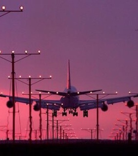 pink sky, travel and plane