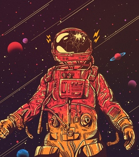 illustration, astronaut and drawing