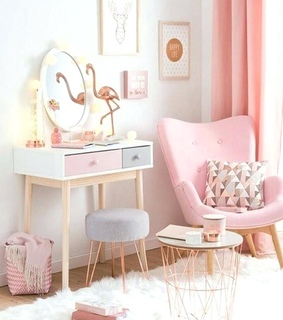mirror, pink and chair