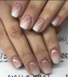 nude nails, Nude and square