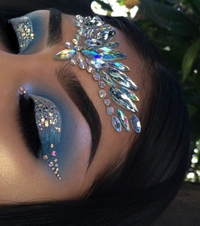 blue, eyeshadow and glitter