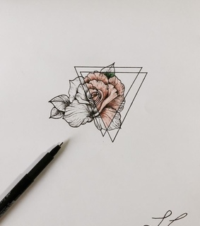 triangle, art and rose