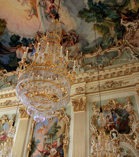 architecture, art and chandelier