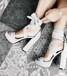 fashion, gray and high heels