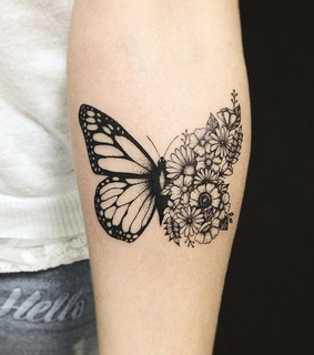 black, butterfly and flowers