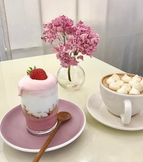 strawberry, pink and food