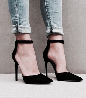 black, high heels and jeans