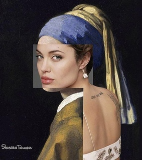 Angelina Jolie, girl with the pearl earring and modern art