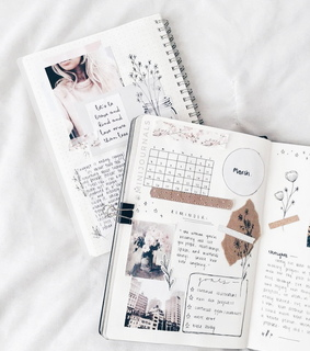 white, notebook and journals