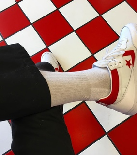converse, checkered and red