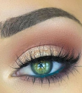 gold, lashes and makeup