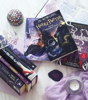 purple, candles and reading
