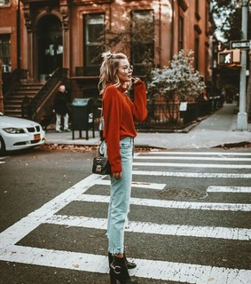 red, fashion and jumper